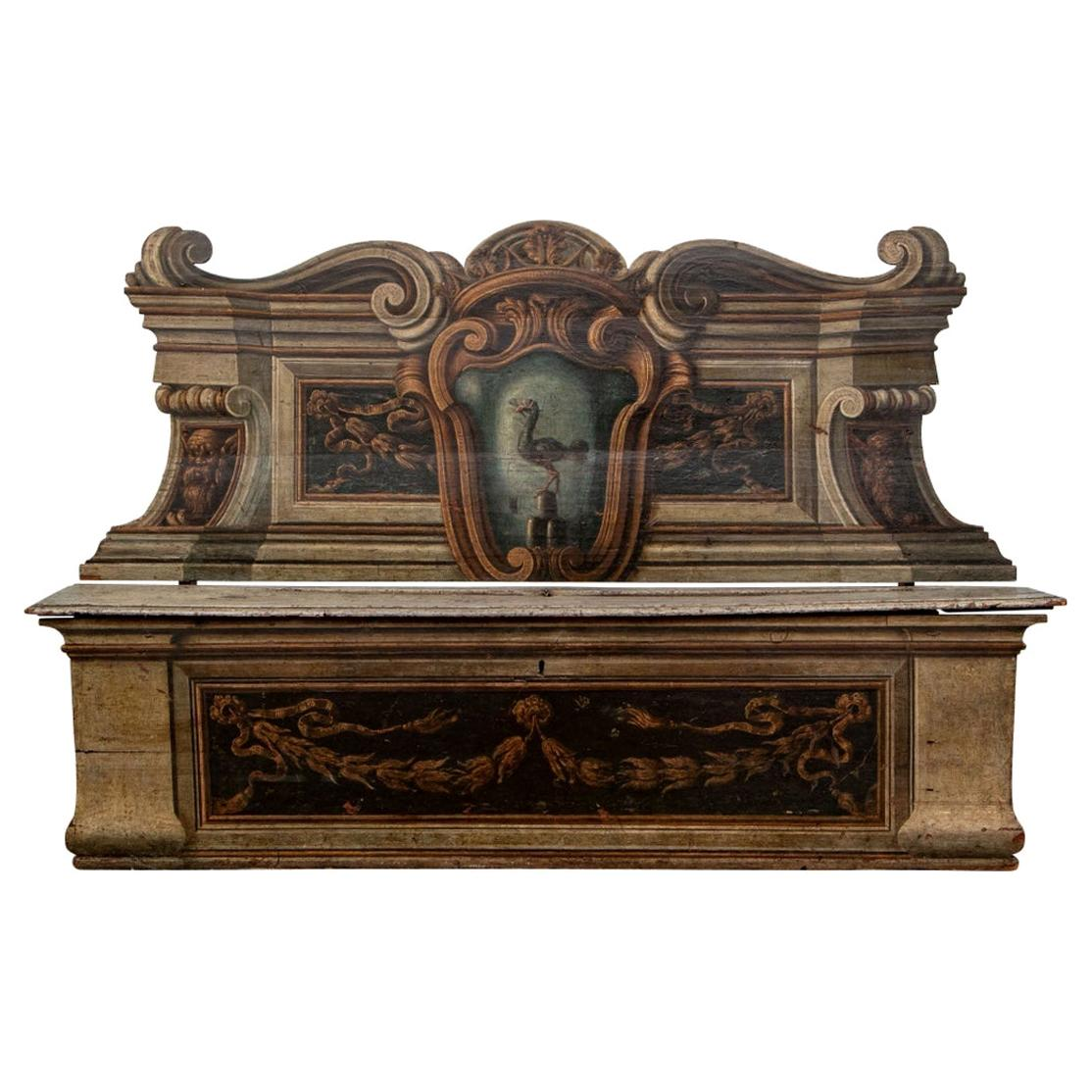 Early Antique Italian Cassapanca Painted Bench