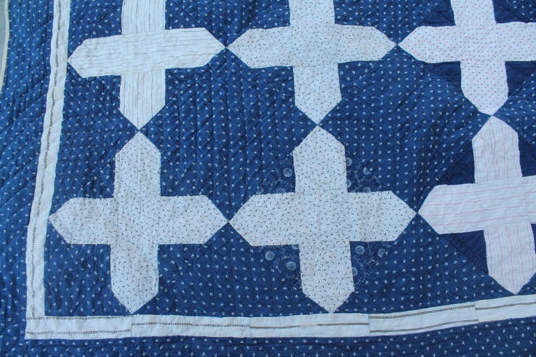 This fine early blue and white calico is super cool and in fine condition. The white fabric is early 19th century shirting and in pristine condition. These early quilts are very hard to find in pristine condition.