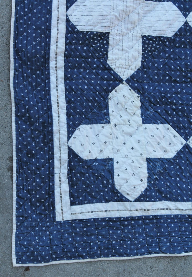 Adirondack Early Antique Quilt, 19th Century Blue and White Calico Quilt For Sale
