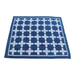 Early Antique Quilt, 19th Century Blue and White Calico Quilt