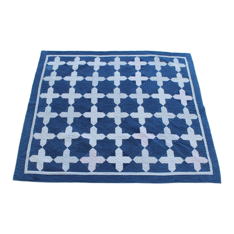 Early Antique Quilt, 19th Century Blue and White Calico Quilt For Sale