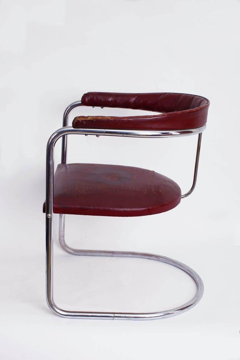 Early Anton Lorenz For Thonet Cantilevered Steel Tube Ss33
