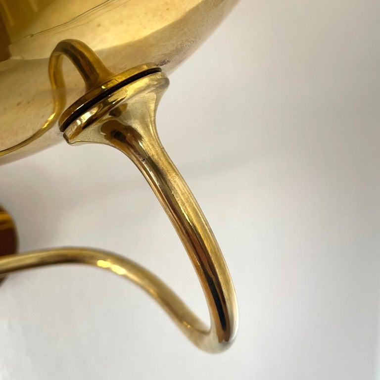 Polished Early Arne Jacobsen Brass Wall Lamp, Denmark For Sale