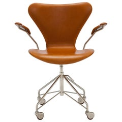 Early Arne Jacobsen Cognac Leather 3217 Swivel Desk Chair with Arms
