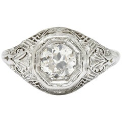 Early Art Deco 0.75 Carat Diamond 14 Karat White Gold Engagement Ring