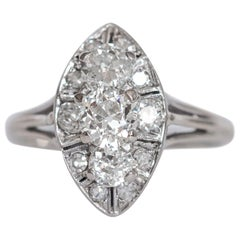 Early Art Deco 1.85 Carat Diamond Navette Marquise Ring