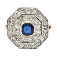 Early Art Deco 1.95 Carats Sapphire Diamond Platinum 14 Karat Gold Ring