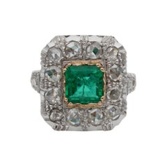Early Art Deco Colombian Emerald and Rose Cut Diamond Ring