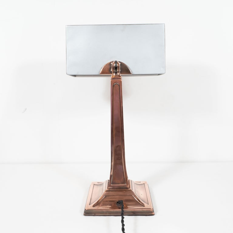 Early Art Deco Copper & Polished Aluminum Table Lamp with Cubist Embellishment For Sale 8