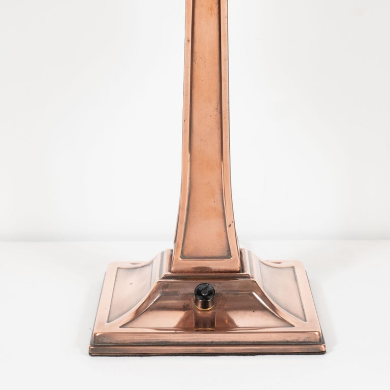 Mid-20th Century Early Art Deco Copper & Polished Aluminum Table Lamp with Cubist Embellishment For Sale