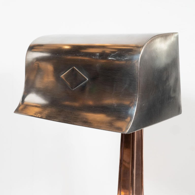 Early Art Deco Copper & Polished Aluminum Table Lamp with Cubist Embellishment For Sale 4