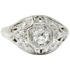 Early Art Deco Diamond Platinum 18 Karat White Gold Foliate Engagement Ring