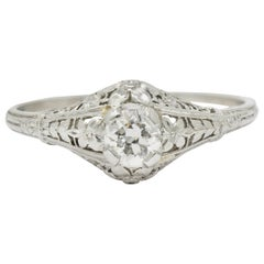 Early Art Deco Diamond Platinum Orange Blossom Engagement Ring