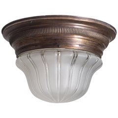 Early Art Deco Flush Mount, circa 1910, Brass and Glass