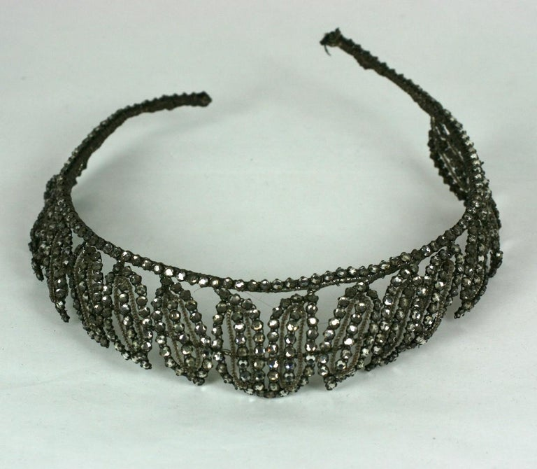 Early Art Deco French Crystal Tiara  For Sale 6