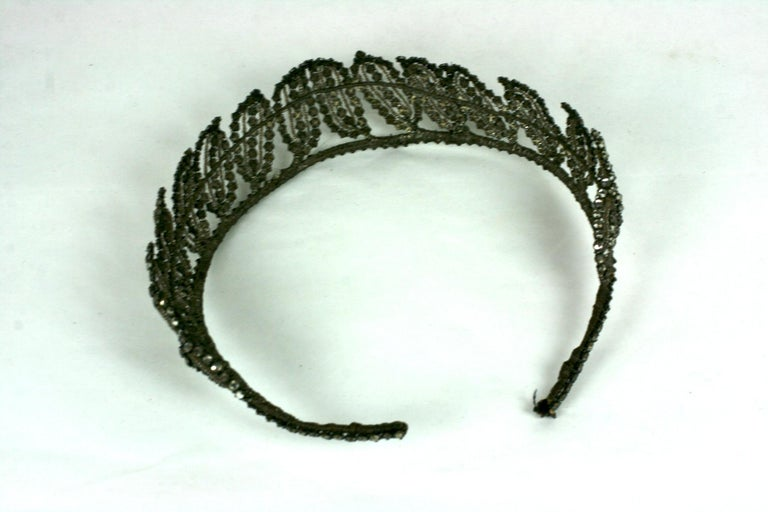 Early Art Deco French Crystal Tiara  For Sale 7