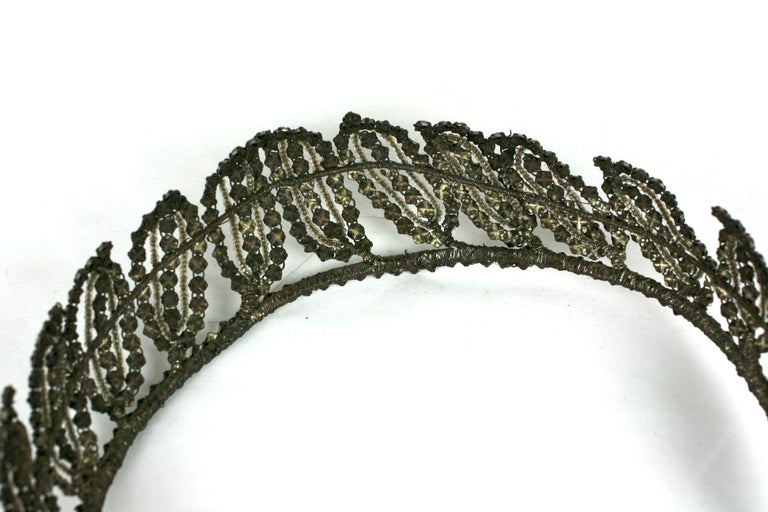 Early Art Deco French Crystal Tiara  For Sale 8