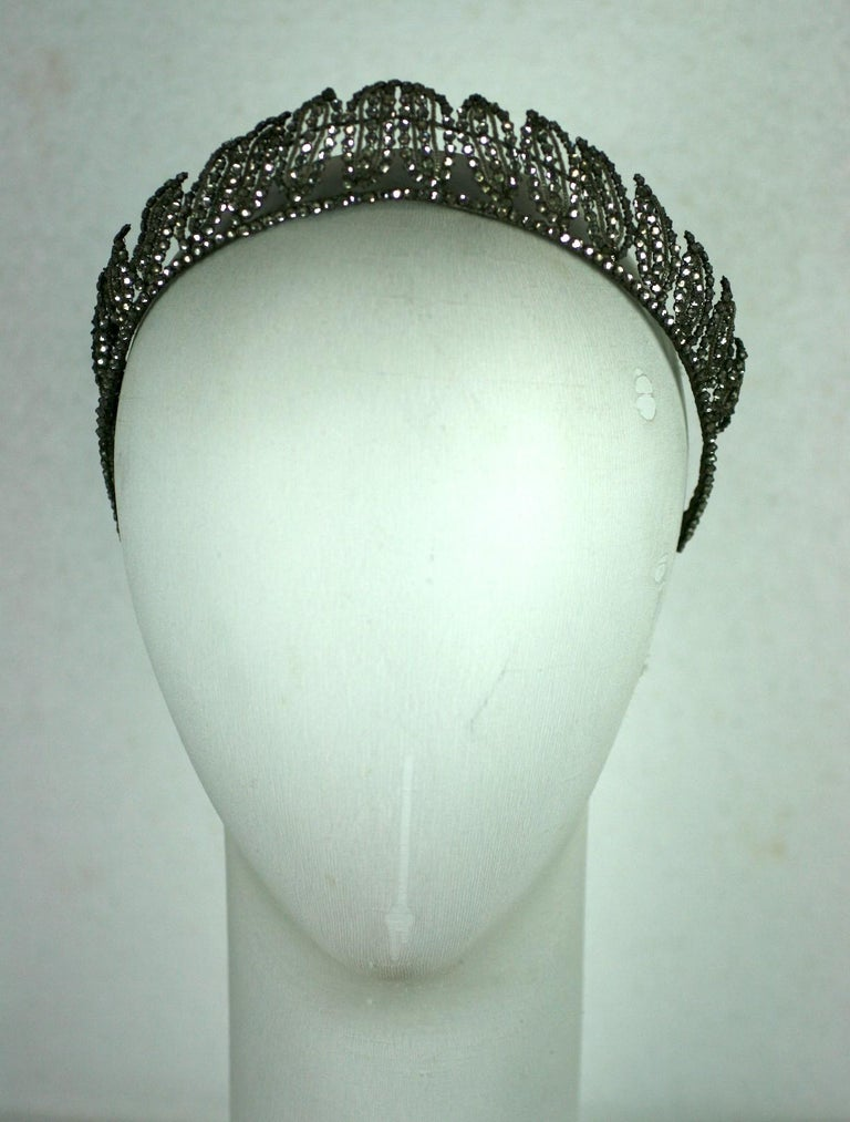 Early Art Deco Crystal Tiara of silver lame threads and hundreds of hand sewn rose montee crystal stones in graduated leaf motifs. Wonderful design on a wired base, completely hand made in France over 100 years ago. Perfect wedding crown.