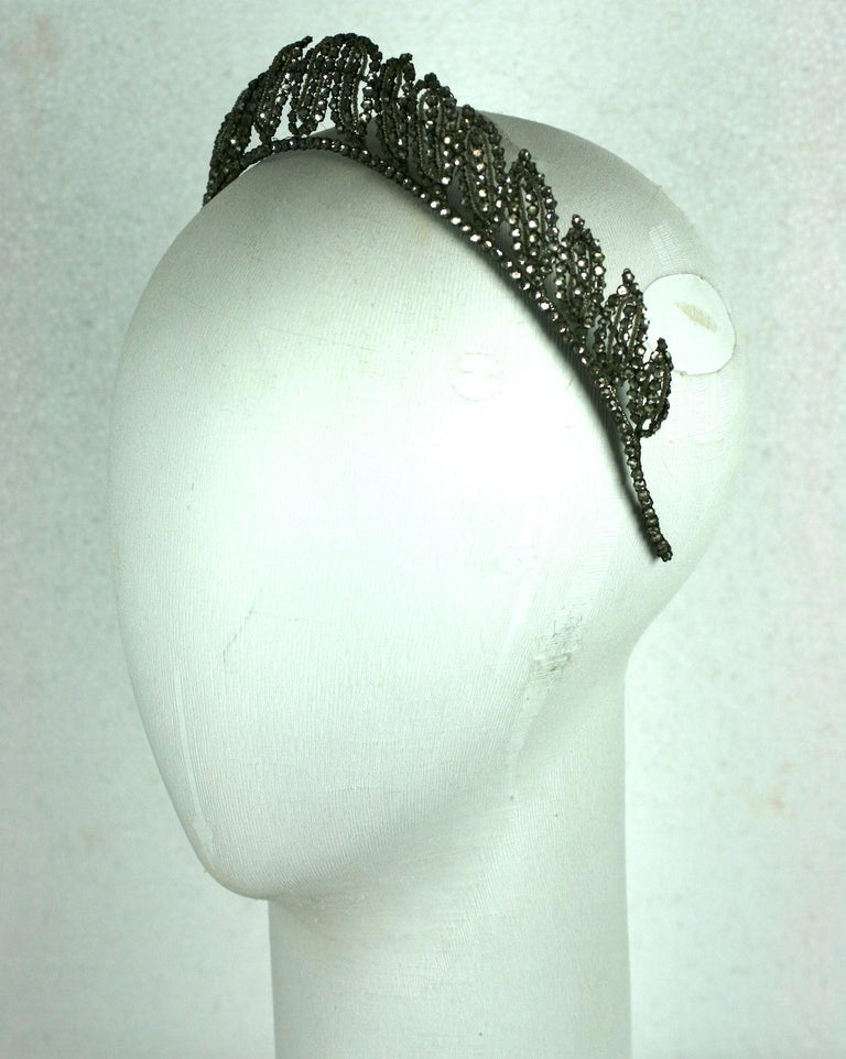 Black Early Art Deco French Crystal Tiara  For Sale