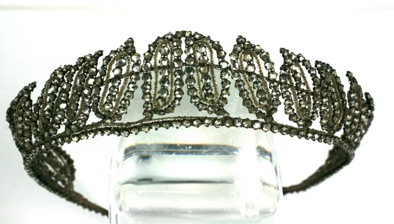 Early Art Deco French Crystal Tiara  For Sale 1