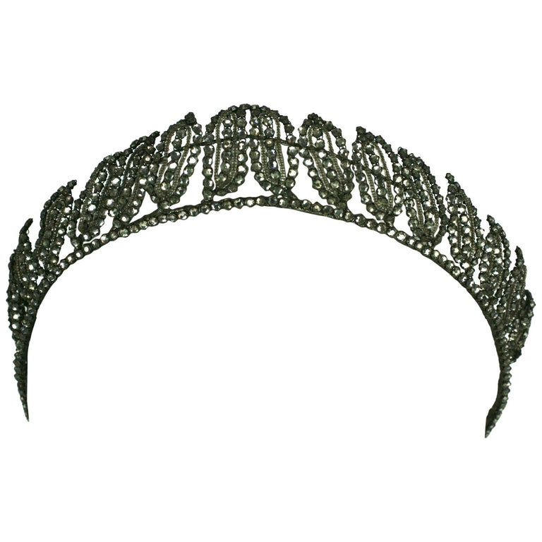 Early Art Deco French Crystal Tiara  For Sale