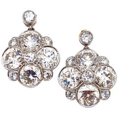 Early Art Deco Old European Cut Diamond Platinum Drop Earrings