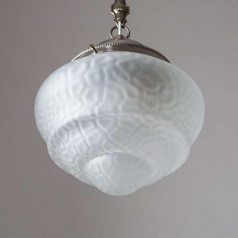 Early Art Deco Pendant, circa 1910, Satin Textured Glass and Nickel For Sale 6