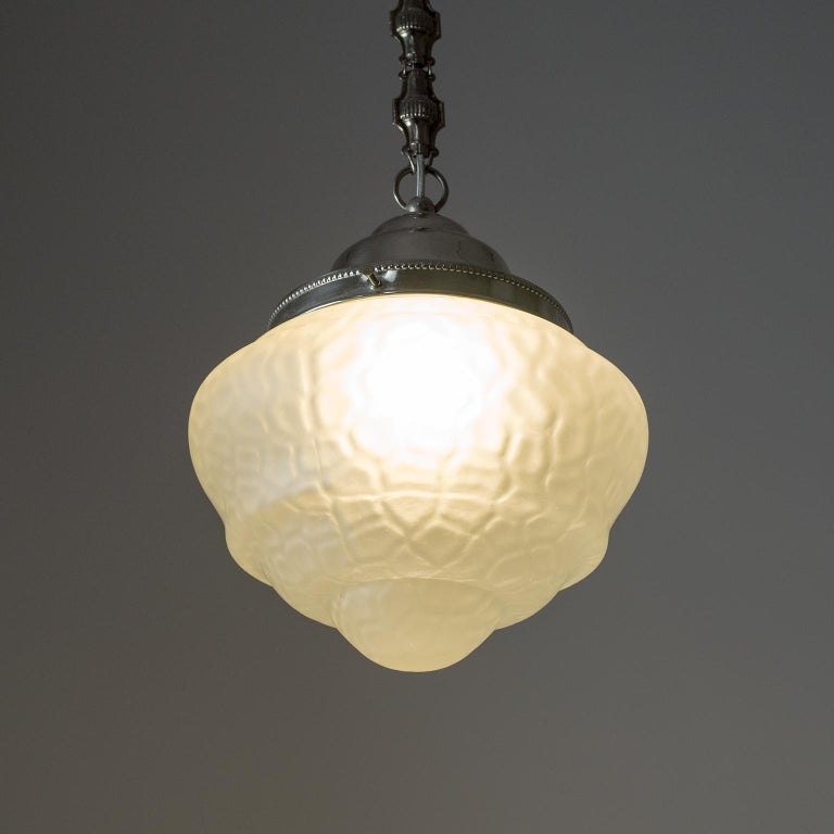 Early Art Deco Pendant, circa 1910, Satin Textured Glass and Nickel For Sale 7