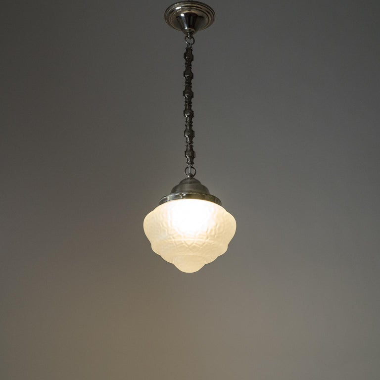 Early Art Deco Pendant, circa 1910, Satin Textured Glass and Nickel For Sale 10