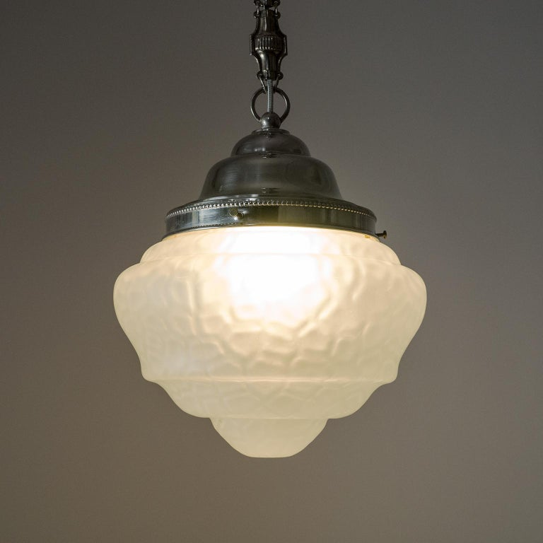Early 20th Century Early Art Deco Pendant, circa 1910, Satin Textured Glass and Nickel For Sale