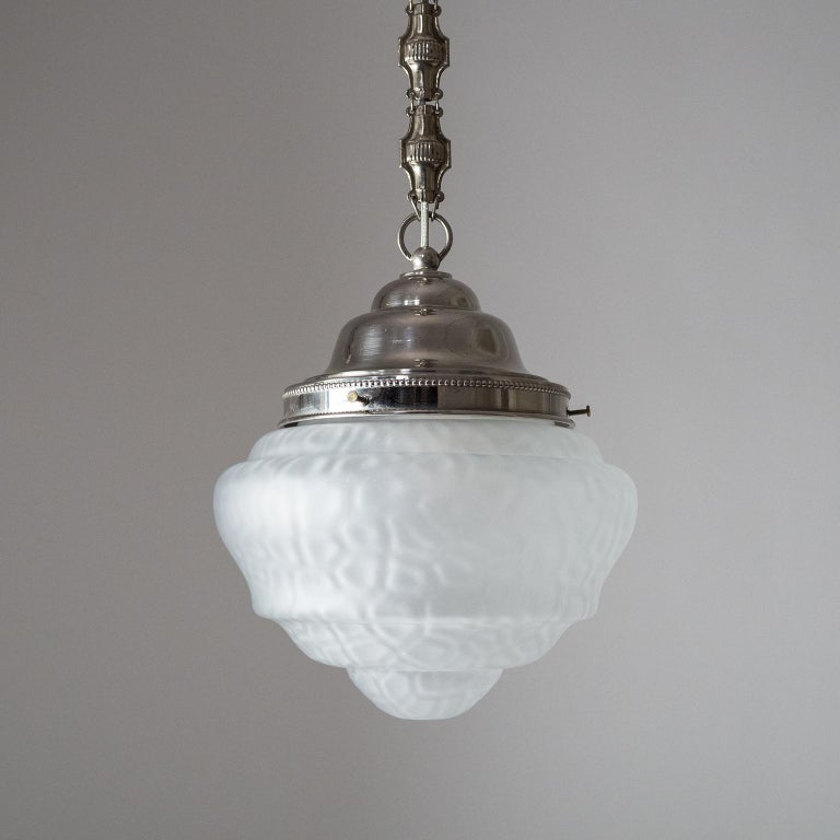 Early Art Deco Pendant, circa 1910, Satin Textured Glass and Nickel For Sale 1