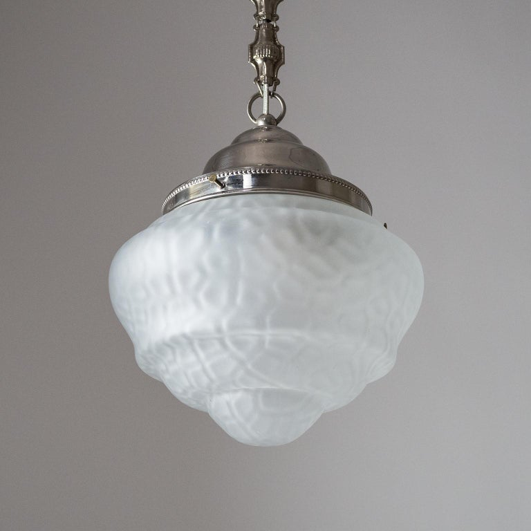 Early Art Deco Pendant, circa 1910, Satin Textured Glass and Nickel For Sale 2