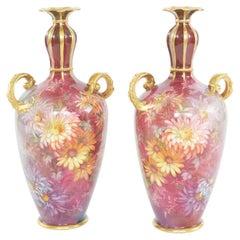 Early Art Nouveau Gilt Porcelain Pair Vase