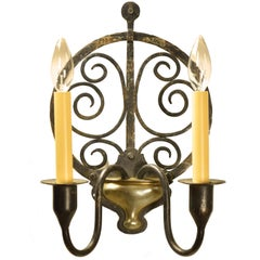 Early Arts & Crafts Iron and Brass Wall Sconce