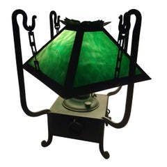 Early Arts & Crafts Mission Slag Glass Lamp by Miller