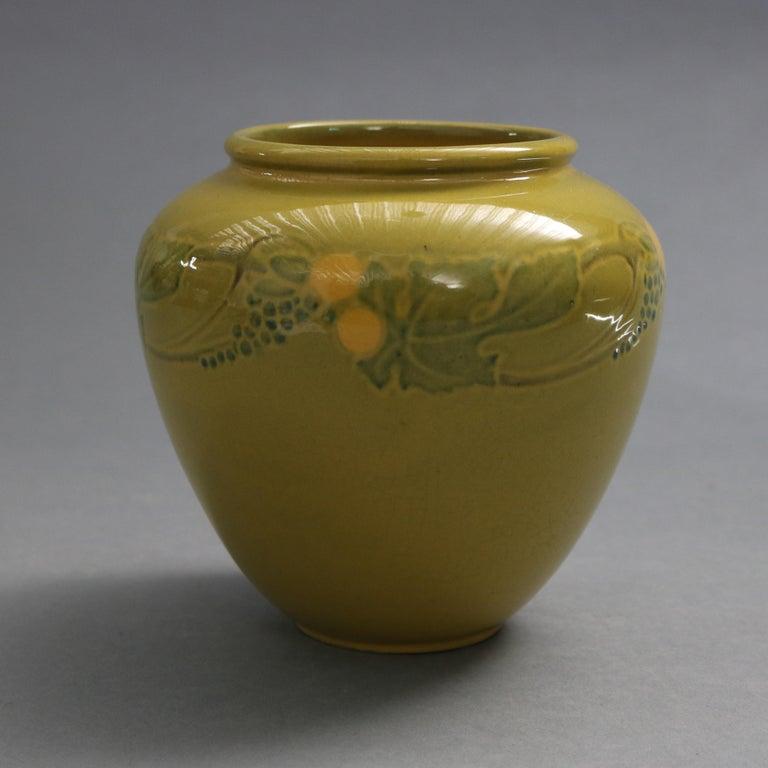 Arts and Crafts Early Arts & Crafts Roseville Art Pottery Vase, Experimental Glaze, circa 1920