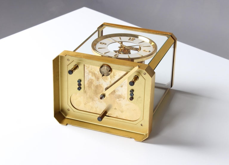 Early ATMOS II Clock from 1949, Jaeger-LeCoultre, Classic Design, White, Gold For Sale 7