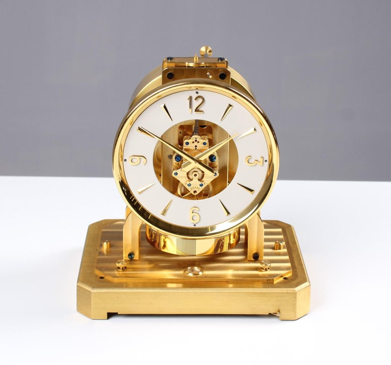 Mid-Century Modern Early ATMOS II Clock from 1949, Jaeger-LeCoultre, Classic Design, White, Gold For Sale