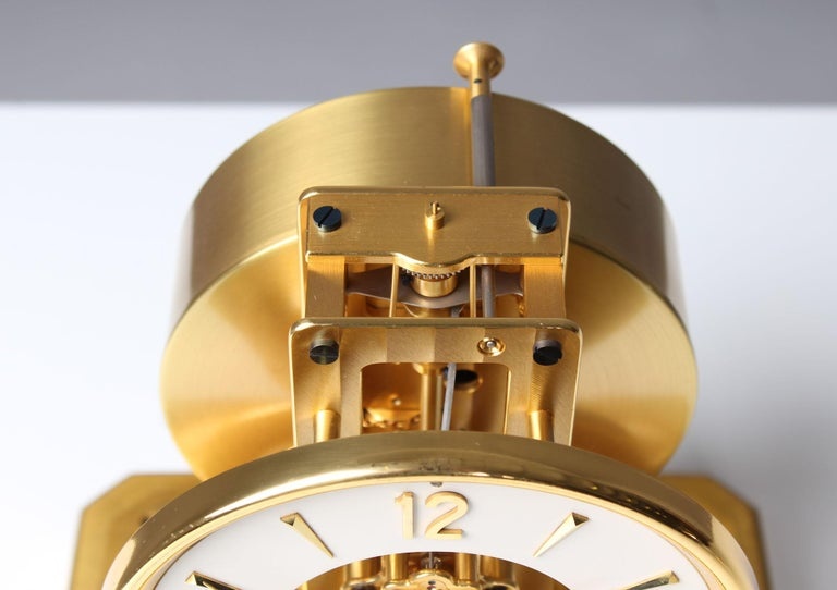 Swiss Early ATMOS II Clock from 1949, Jaeger-LeCoultre, Classic Design, White, Gold For Sale
