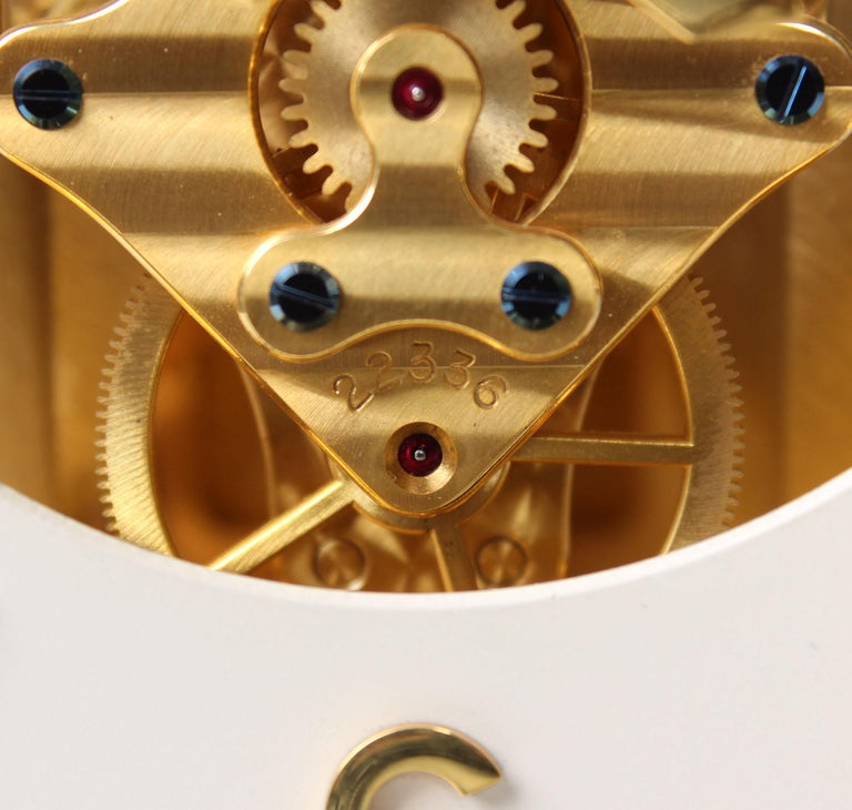 Mid-20th Century Early ATMOS II Clock from 1949, Jaeger-LeCoultre, Classic Design, White, Gold For Sale