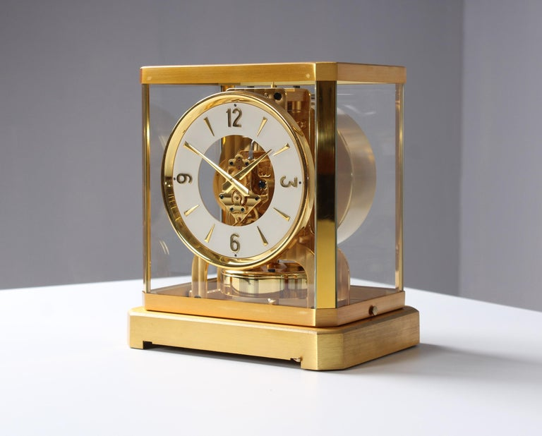 Brass Early ATMOS II Clock from 1949, Jaeger-LeCoultre, Classic Design, White, Gold For Sale