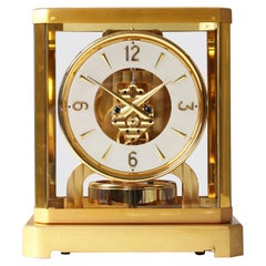 Early ATMOS II Clock from 1949, Jaeger-LeCoultre, Classic Design, White, Gold