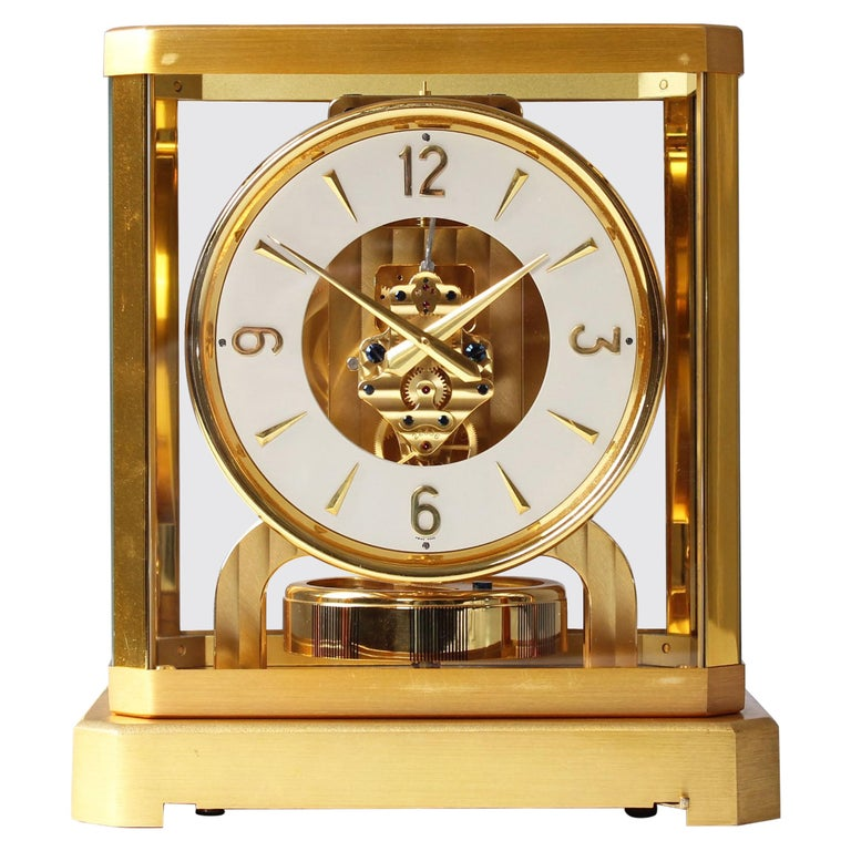 Early ATMOS II Clock from 1949, Jaeger-LeCoultre, Classic Design, White, Gold For Sale