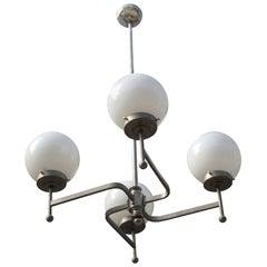 Early Bauhaus Four Opaline Sphere Lights Manji Shaped Chandelier, Germany, 1920s