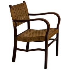 Early Bauhaus Woven Rope and Oak Armchair by Erich Dieckmann