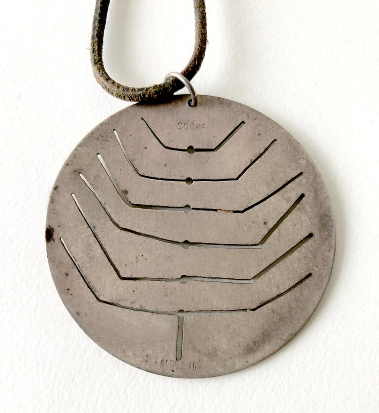 Modernist Early Betty Cooke Sterling Silver Pendant on Original Leather Cord For Sale