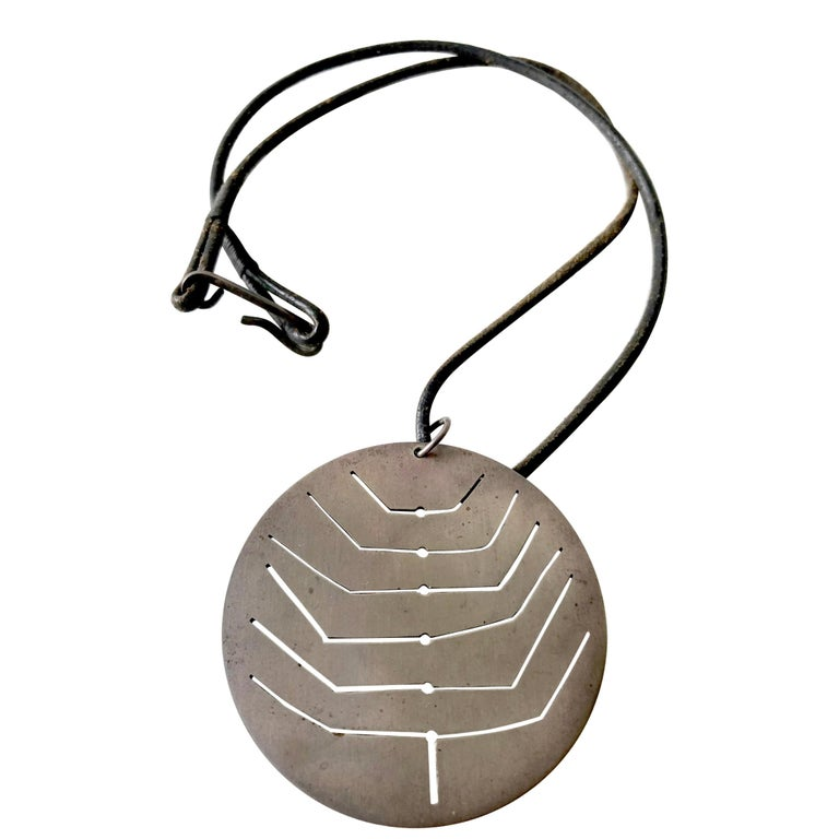 Early Betty Cooke Sterling Silver Pendant on Original Leather Cord For Sale