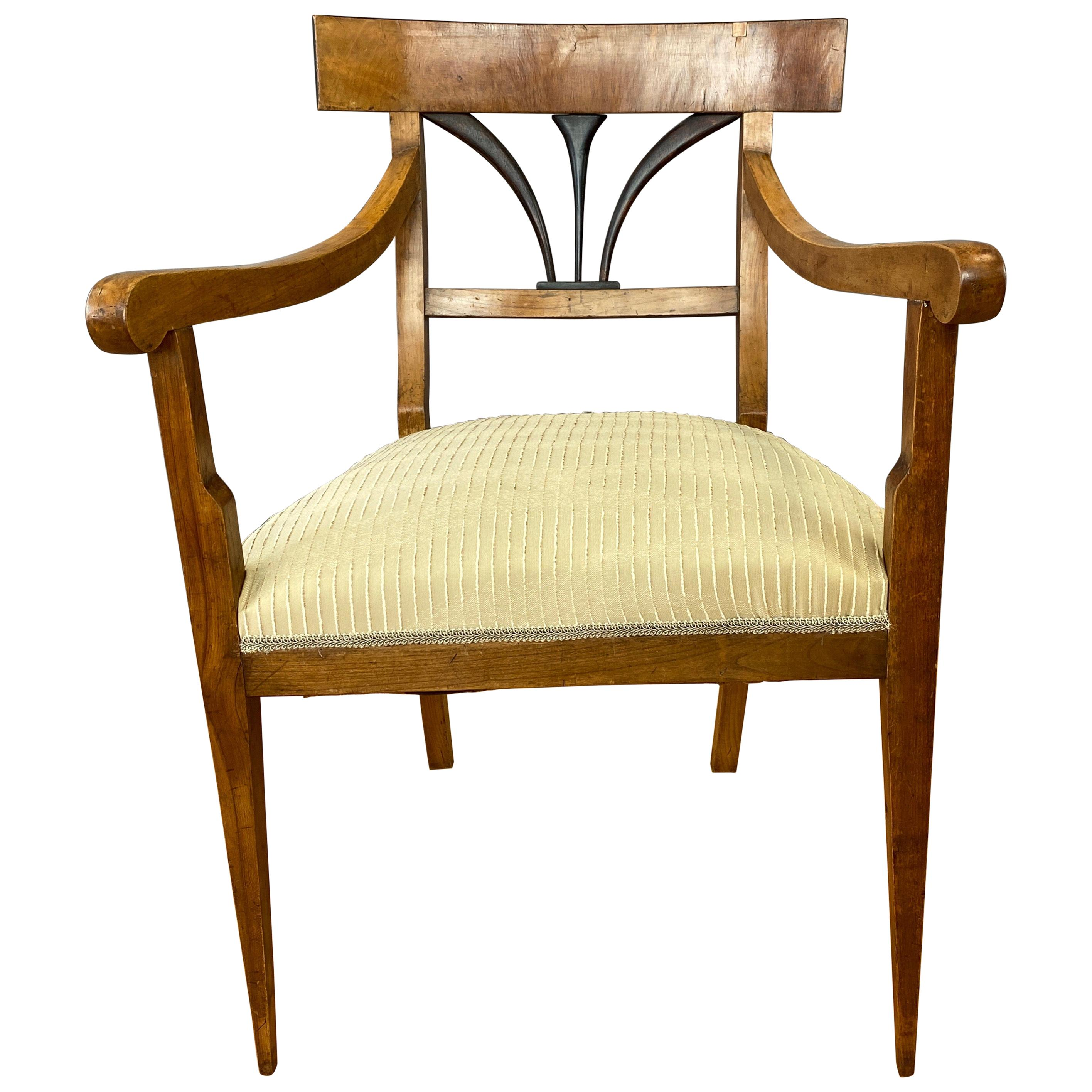 Early Biedermeier Fruitwood and Ash Armchair with Upholstered Seat, c. 1825