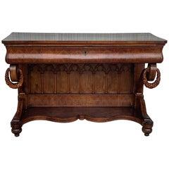 Early Biedermeier Period Walnut Console Table with Drawer, Austria, circa 1830