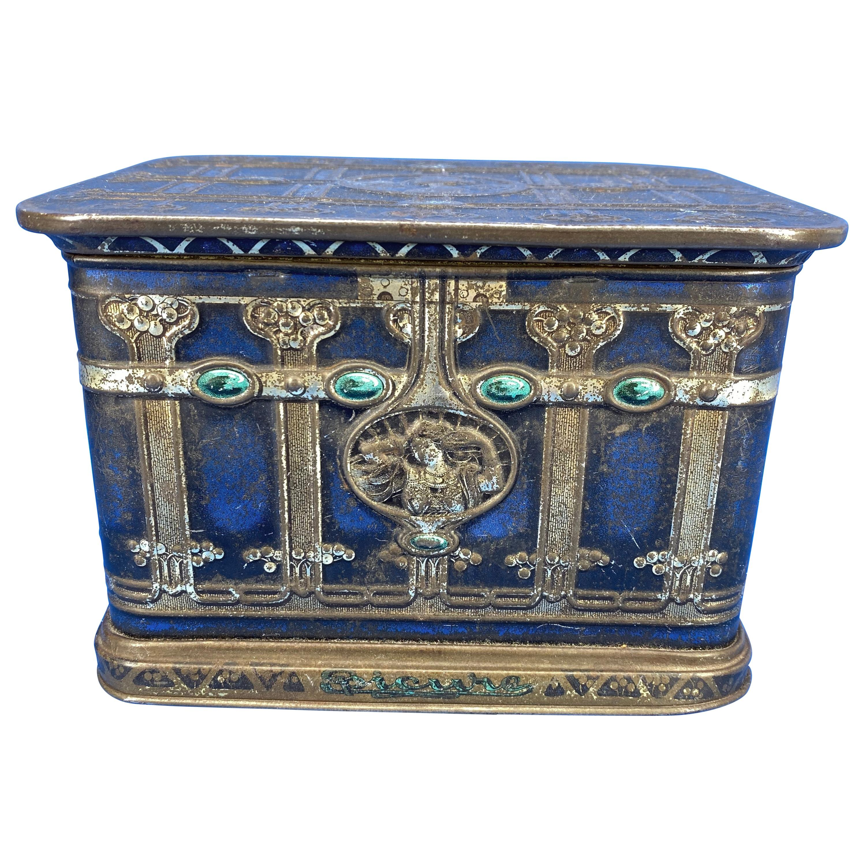 Early Blue American Toleware Tobacco Or Jewelry Box